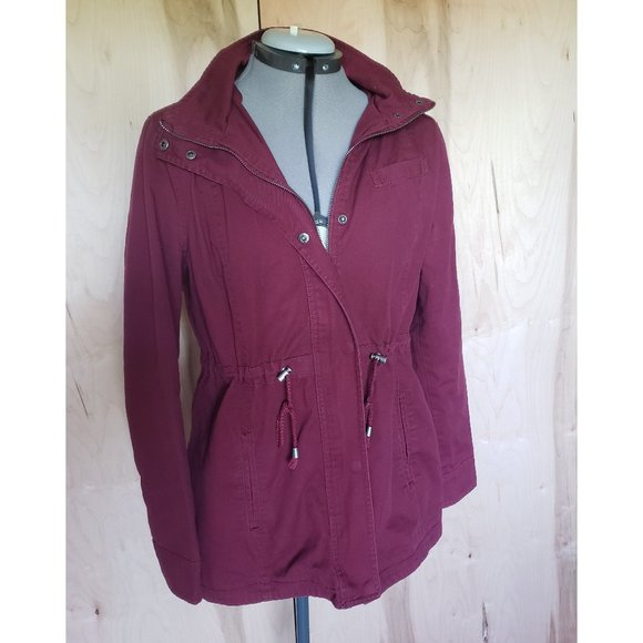 Bsweet Maroon Utility Anorak Jacket Large